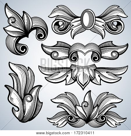 Decorative ornate engraving scroll ornament, leaves of baroque victorian frame border vector set. Frame elements for decoration corners. Illustration of ornament decor