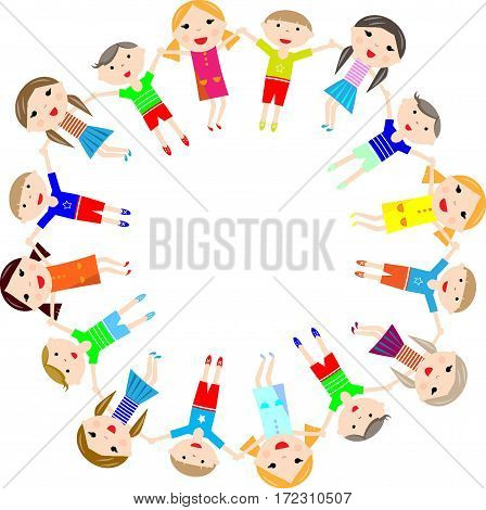 happy children round frame vector illustratio play, young