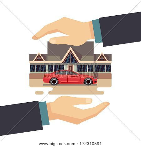 Insurance business vector concept. protect of property, house, car, money. Protection homa and car, finance insurance and protect illustration