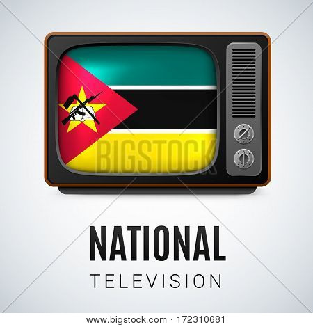 Vintage TV and Flag of Mozambique as Symbol National Television. Tele Receiver with Mozambican flag