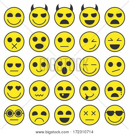 Set of Emoticons. Emoji icons collection. Smile funny faces. Vector eps10