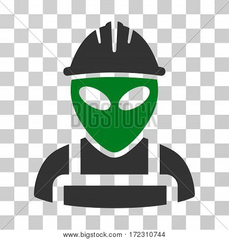 Alien Worker vector icon. Illustration style is flat iconic bicolor green and gray symbol on a transparent background.