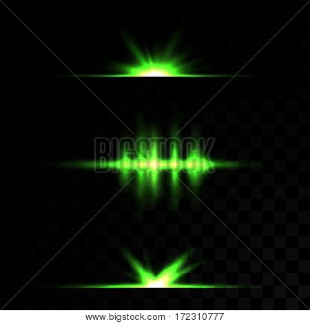 A set of lens effects 5 pieces  on a transparent background. Green color. Neon glow, magical light, glowing, illuminated. Line vector, stars form.