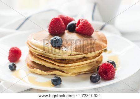 Breakfast. Berries. Pancakes. Romantic Breakfast On A Wooden Table. Spring Morning. Cozy.