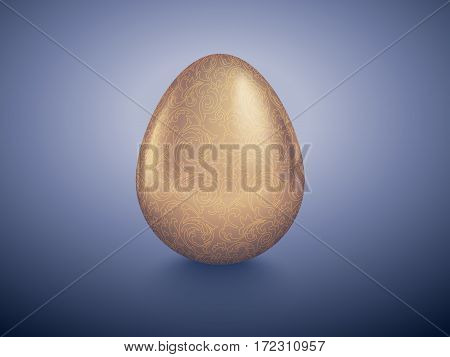 Glossy golden egg with graven floral pattern. Purple deep retro background. Vintage banner card poster for Easter business benefit concept.