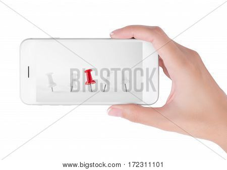 Woman using smart phone searching outstanding of red push pins in white push pins row. Outstanding and office equipment concept isolated on white background.