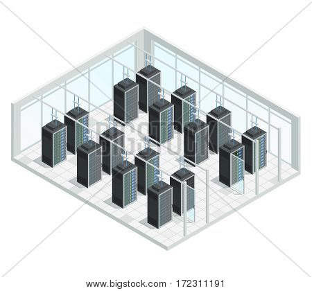 Datacenter server cloud computing isometric interior composition with group of server racks filled with network connected hardware vector illustration
