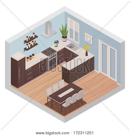 Modern kitchen interior isometric design concept with cooking zone and dining zone for six persons flat vector illustration