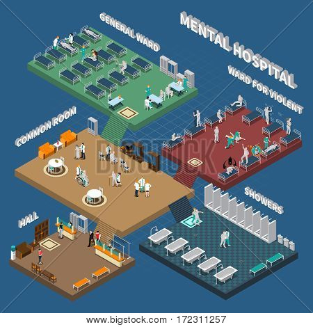 Multistory mental hospital isometric interior with people in hall wards and showers on blue background vector illustration