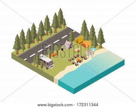 Camp between road and lake with tents and hammock bonfire on beach picnic blanket  isometric vector illustration