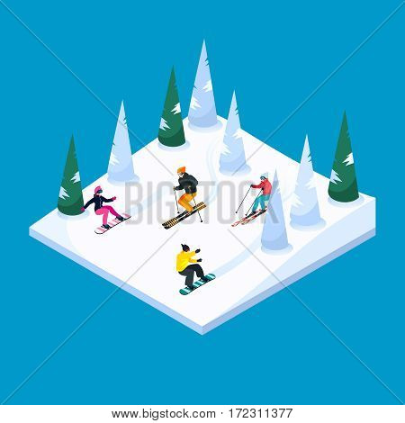 Skiing hill square isometric scenery element with colorful skiers and snowboarders figures snow terrain and trees vector illustration