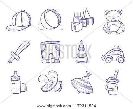 Doodle kids toys vector hand drawing set. Child toys for play, illustration of bear toy and bottle for milk