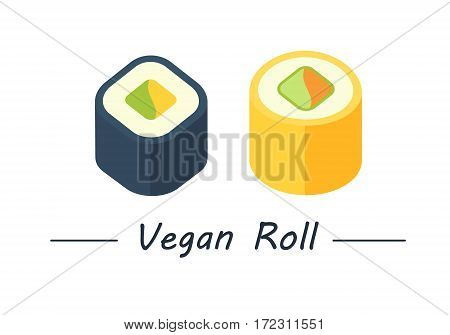 Vegan rolls with tortilla, carrot, cucumber and avacado. Sushi rolls set icons. Vector illustration. Flat style.