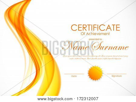 Certificate of achievement template with orange light soft wavy smooth background and seal. Vector illustration