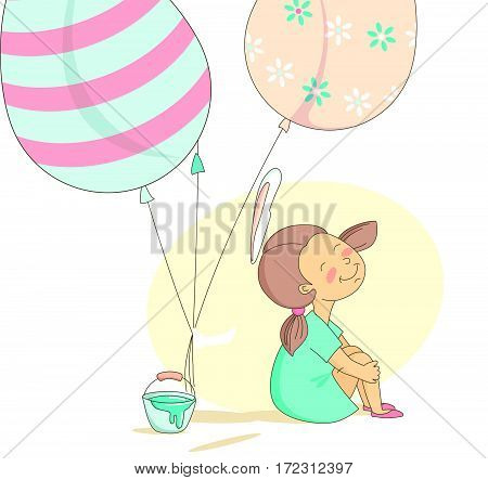 Funny Happy Easter greeting card with girl and rabbit bunny with flying balloons Easter eggs. Vector Illustration flat kids style design.