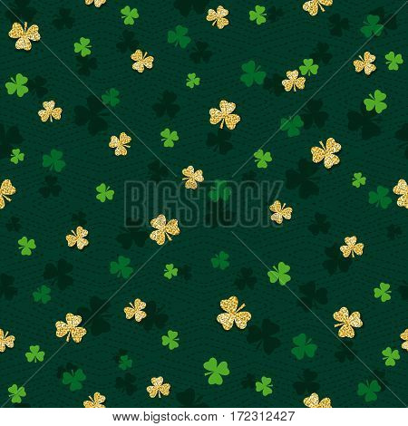 Green seamless background for Patricks day with golden shamrock vector illustration. Ideal for printing onto fabric and paper or scrap booking