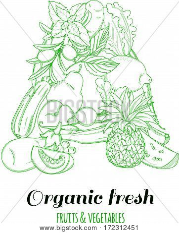 Letter A pattern logo of groceries organic farm fresh fruits and vegetables. Vector illustration logotype. Outline line flat style design. White backdrop.