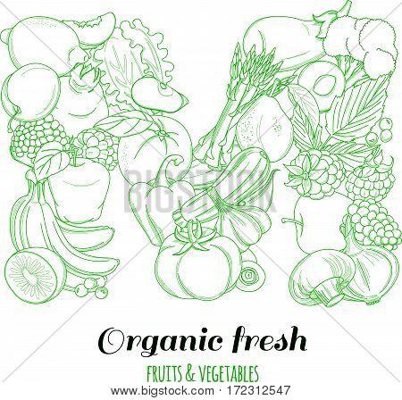 Letter M pattern logo of groceries organic farm fresh fruits and vegetables. Vector illustration logotype. Outline line flat style design. White backdrop.