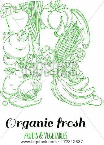 Letter R pattern logo of groceries organic farm fresh fruits and vegetables. Vector illustration logotype. Outline line flat style design. White backdrop.