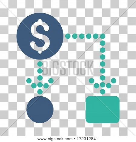 Cashflow vector pictogram. Illustration style is flat iconic bicolor cobalt and cyan symbol on a transparent background.