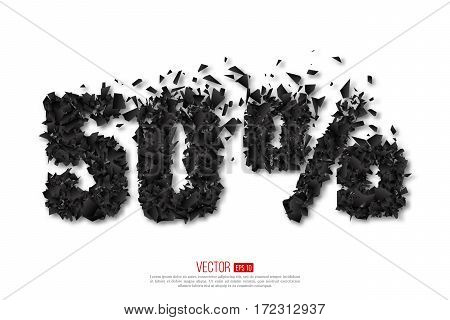 50 percent abstract sale sign with debris explosion effect. Vector holiday illustration.
