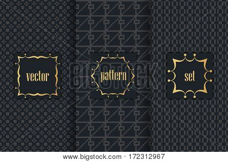 Collection Of Black Backgrounds And Golden Geometric Elements. Set Of Frames And Seamless Patterns.