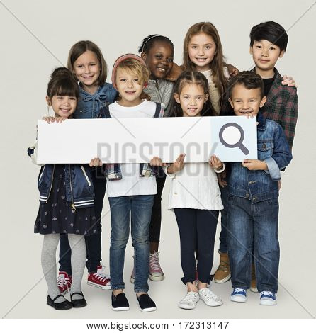 A children are holding a search sign