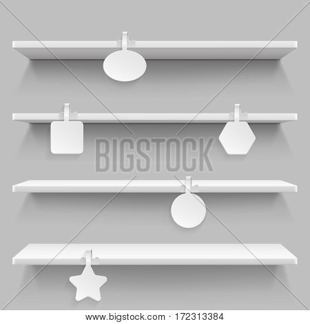 Empty supermarket retail shelves with advertising wobblers vector illustration. Label wobbler for price in market, template of white wobbler for sale