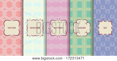 Set Of Seamless Patterns In Pastel Colors. Collection Of Colorful Vector Backgrounds And Labels. Mon