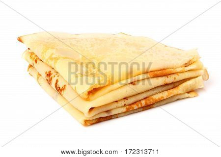 Thin pancakes isolated on a white background.