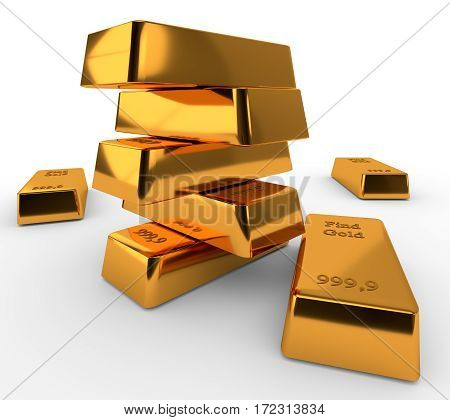 Three bullions of gold isolated on white background. 3d render