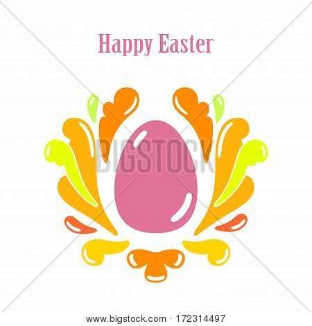 Happy Easter Greeting Card Template With Egg.