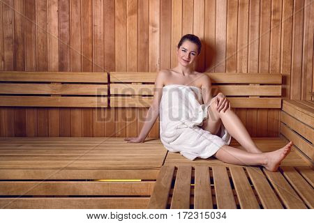 Young Woman In Sauna