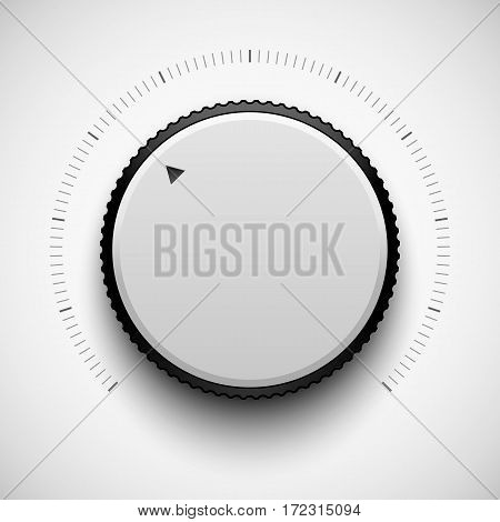 White technology volume knob, music button template with realistic designed shadow, range scale and light background for design concepts, web, interfaces, UI, applications, apps. Vector illustration.