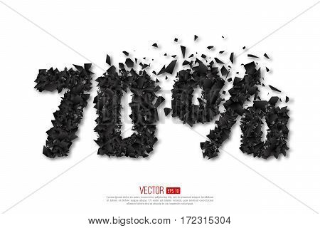 70 percent abstract sale sign with debris explosion effect. Vector holiday illustration.