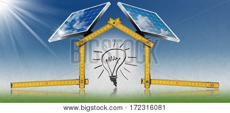 3D illustration of a yellow wooden ruler in the shape of ecologic house with two solar panels sunbeams and a light bulb. Concept of ecological house design