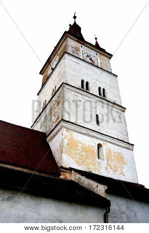 Tower of the medieval saxon fortified church Harman-Honigberg, Transylvania, Romania