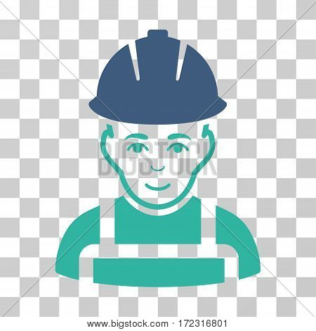 Glad Worker vector pictogram. Illustration style is flat iconic bicolor cobalt and cyan symbol on a transparent background.