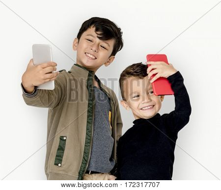 Boy Children Using Mobile Taking Selfie