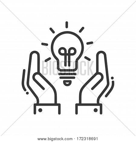 New Idea or Concept - vector modern line design illustrative icon. Two hands manifesting a light bulb as symbol of finding a new option or solution.