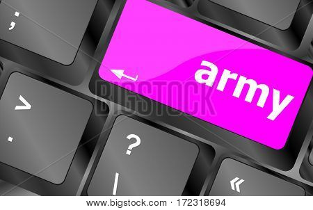 Keyboard With Enter Button, Army Word On It