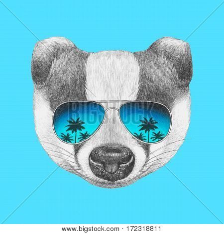 Portrait of Badger with mirror sunglasses. Hand drawn illustration.