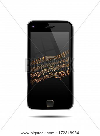 Semi Realistic Vector Illustration Of A Mobile Phone Playing Music.