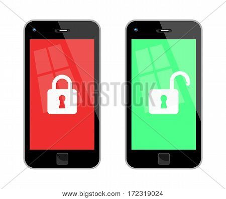 Vector Illustration Of Locked And Unlocked Black Smart Phones. No Transparency. Global Colors Used.