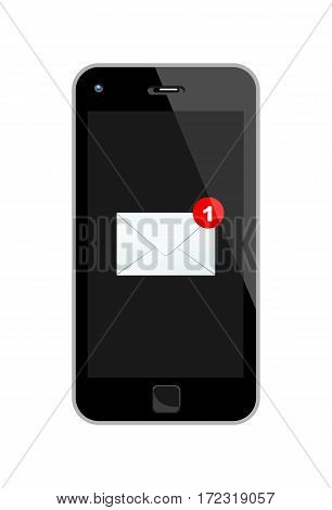 Vector Illustration Of A Black Smart Phone With One Incoming Mail.