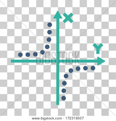 Hyperbola Plot vector icon. Illustration style is flat iconic bicolor cobalt and cyan symbol on a transparent background.