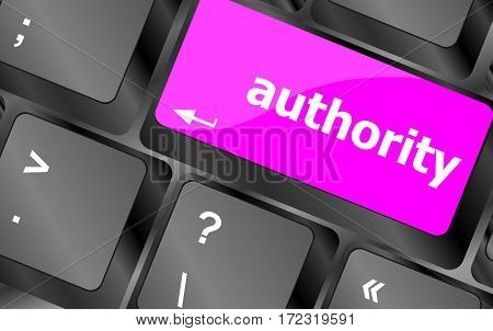 authority button on pink computer keyboard key