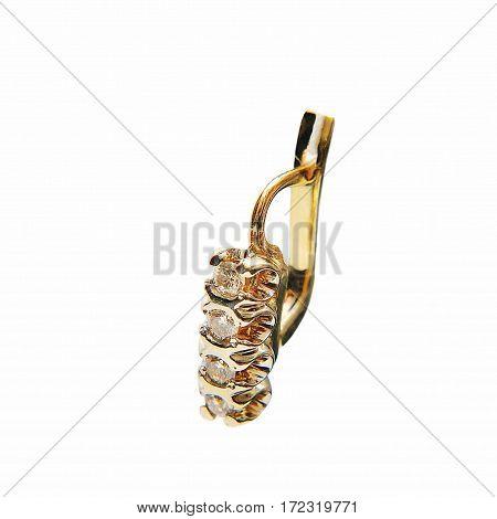Golden Earrings with Diamonds. Small beatiful earrings.