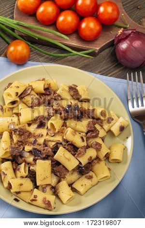 Macaroni with stewed meat.  Pasta Russian Navy Style. Top view