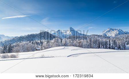 Winter Wonderland With Watzmann In Winter, Bavaria, Germany